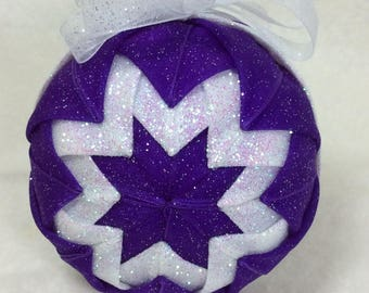 Handmade, Fabric, Christmas, Ornament, Purple, White