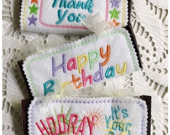 Birthday Candy Wrapper Set of 3 Machine Embroidery designs - Instant Download