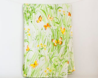 vintage bibb percale twin flat sheet grass and butterfly print bedding polyester cotton blend
