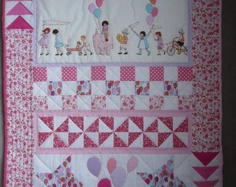 """Patchwork """"Letting go of balloons"""" blanket and pillow"""