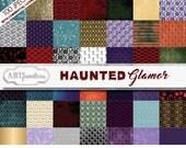 Big Bundle of Haunted Glamor 100 Digital Papers with skeletons, masquerade masks, scary skulls, elegant backgrounds, birds, creepy trees