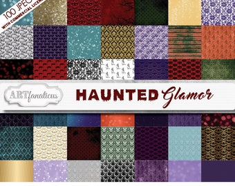 Big Bundle of Haunted Glamor 100 Digital Papers with skeletons, masquerade masks, scary skulls, elegant backgrounds, birds, creepy trees