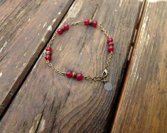 """ava"" fuchsia agate ankle chain"