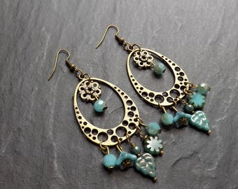 """anatole"" Czech glass and brass earrings"