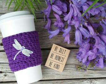 Crochet coffee cup cozy, with a Dragonfly  applique , made with 100% cotton. Crochet coffee sleeve, crochet coffee cozie