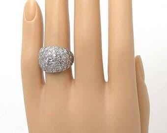 3439 - Vintage 1.40tcw Diamond 14k White Gold Dome Ring Size - 7