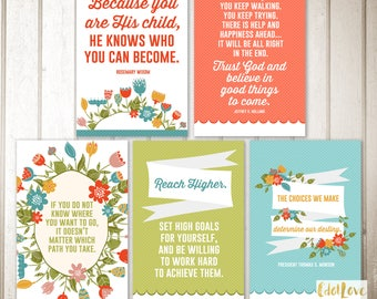 Girls camp handouts - Set of FIVE quotes with coordinating designs  -  INSTANT download  / Young Women LDS quotes