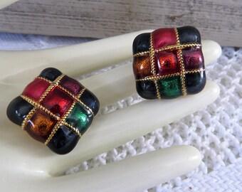 Premier Jewel tone Gold Square Earrings Clip