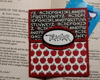 Teacher Gift  Red Apple Teacher Chalkboard Gift Card Paper Gift Card Holder Envelope Thank You School Gift Card Holder Teacher Appreciation