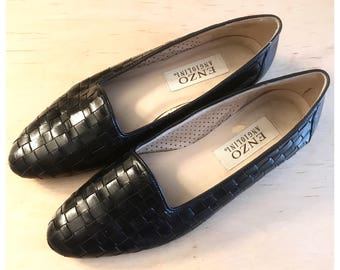 Fab shoes by Enzo Angiolini, Woven flats made in Brazil, Brazillian Leather, Vintage Woven Leather Flats, 7N