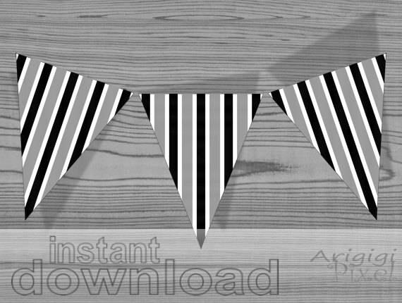 black white vertical striped banner - DIY garland - download immediately