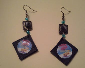 "Earrings boho ""direction vacation"" black leather, seed and cabochon"
