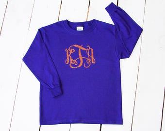 GIRLS Glitter Monogram LONG SLEEVE Shirt Unisex Style Custom Family Sibling Shirts Monogrammed Shirt Fall Clothing