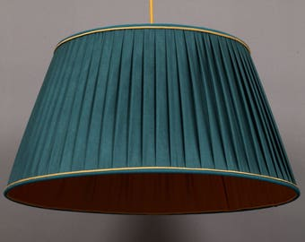 Hanging lamp,Ceiling lamp pleated plissé fabric, teal
