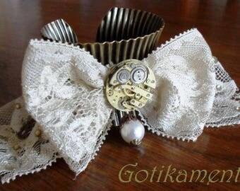 Steampunk victorian bracelet cuff brass and lace