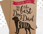 Personalised Best Dog Dad Ever Card from the dog with ANY Standard Dog Breed - Best Dog Dad Card