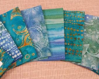 Batik textiles fat 1/8 bundle of 8 In Teal Blue