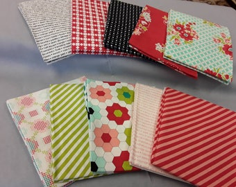 10 fat quarters from Bonnie and camille's handmade collection with red stripe