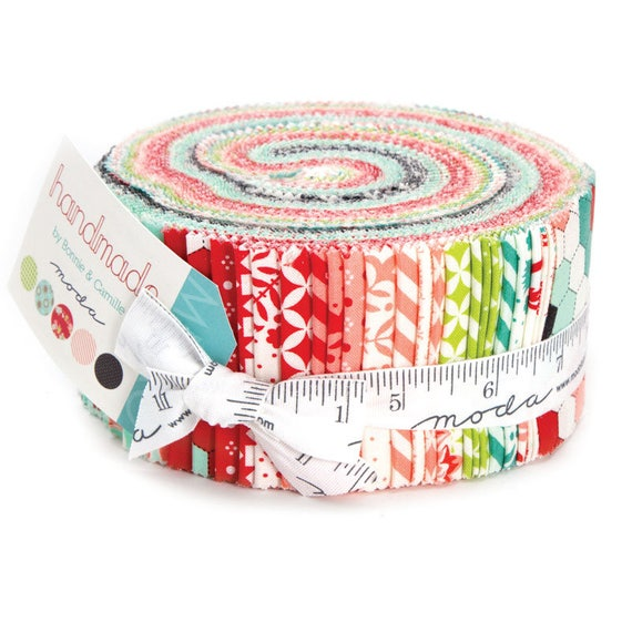 Handmade Jelly Roll of 40 Fabrics by Bonnie and Camille's 2016 Quilt Fabric Collection From Moda