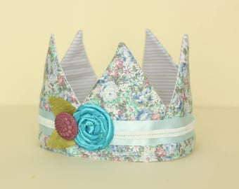 Blue Floral Fabric Crown with Turquoise flower trim
