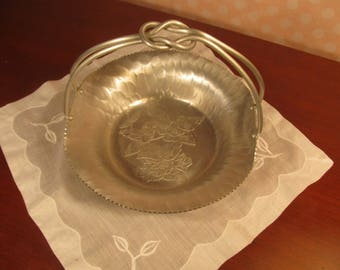 Gift basket; Vintage hand forged aluminum basket; knotted handle with etched flowers & leaves; mid century