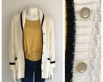 Vintage 1980's Cream and Black Wool Chunky Cardigan
