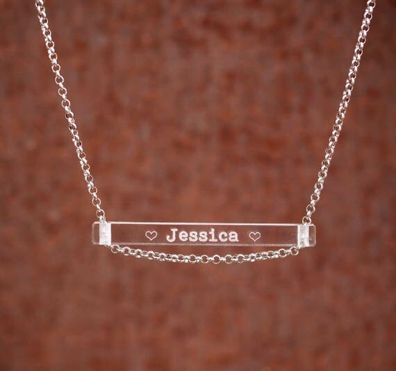 CUSTOM DESIGN - Clear Bar Necklace - Stainless Steel - Clear Acrylic