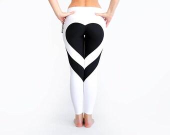 Heart Shape Pants, White Leggings, Heart Leggings, Sexy Leggings, White Yoga Pants, Best Leggings, Heart Booty Pants, Black White Leggings