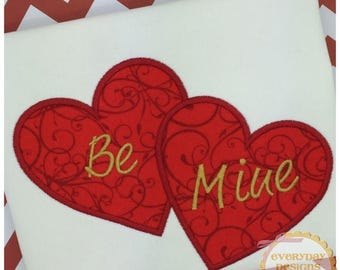 Labor Day Sale Double Heart Applique Design for Machine Embroidery Instant Download