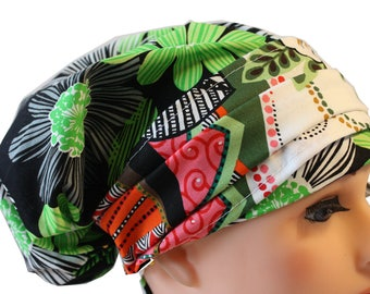 Scrub Hat Cap Chemo Bad Hair Day Hat  European BOHO Banded Pixie Tie Back Lime Green Black White Abstract Flower Band 2nd Item Ships FREE