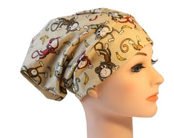 Scrub Hat Cap Chemo Bad Hair Day Hat  European BOHO Pixie Tie Back Tan Monkey 2nd Item Ships FREE