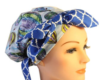 Scrub Hat Cap Chemo Bad Hair Day Hat  European BOHO Banded Pixie Tie Back Hot Air Balloons Blue Tie Band 2nd Item Ships FREE