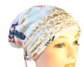 Scrub Hat Cap Chemo Bad Hair Day Hat  European BOHO Banded Pixie Tie Back Feathers Blue Peach Orange  Ceil Gold Band 2nd Item Ships FREE