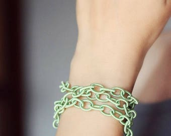 Green Chunky Bracelet Wrap Bracelet Fabric Chain Bracelet Link Bracelet Green Bracelet Layers Bracelet Satin Bracelet Boho Bracelet Modern