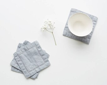 SALE! Set of 4 Light Grey Linen Coasters with Hemstitch