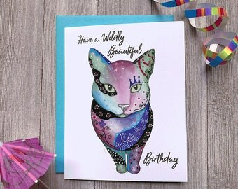 Cat Birthday Card, Funny Cat Birthday Card, Animal Birthday Card, Crazy Cat Lady Card, Animal Charm Cards