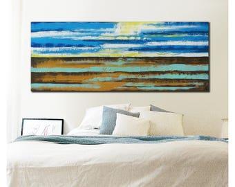 Landscape Abstract painting, Landscape Camel Blue - k24 - Acrylic Modern Art, Original Hand Made, Abstract Painting, Large painting