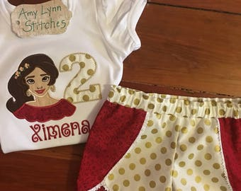 Elena of Avalor Applique Top and Shorts,Princess Elena Shirt & Shorts, Elena Applique Top and Shorts,Princess Elena of Avalor Outfit