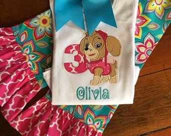 Skye Paw Patrol Applique Top & Pants/Skye Paw Patrol Birthday Outfit/Applique Top and Ruffled Pants