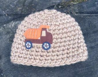 Newborn Baby Boy Chunky Brown Beanie Hat and Dump Truck Applique