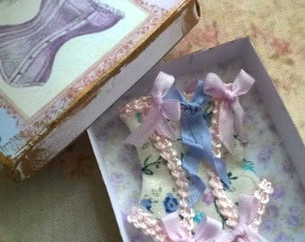 Dollhouse miniature 1/12th Corset in Free corset box Summer Breeze