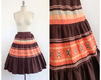 50s Brown Native American Seminole Skirt / 1950s Vintage High Waisted Full Circle Skirt / Large / Size 12 / 33 inch waist