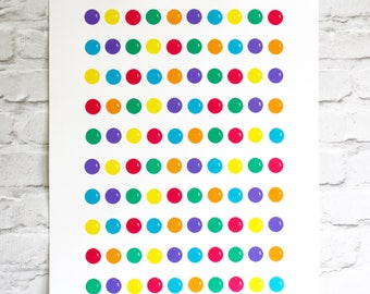 screen print - hand printed candy art - 100 colourful gobstoppers - 50 x 70 cm poster