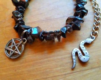 Smokey quartz charm bracelet
