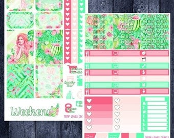 Tropical Vacation Kit for Erin Condren Life Planner Vertical Layout