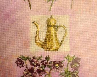 Hellebores and tea pot - héllébores et théière by valerie roy DMC xc1068a