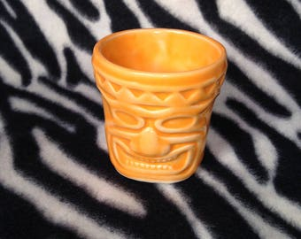 Single Orange Tiki Shot Glass Handmade Hand Made OHIO USA Hawaiian Polynesian Beach