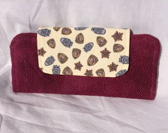 Slimline Wallet - Burgundy burlap with BCSO flap
