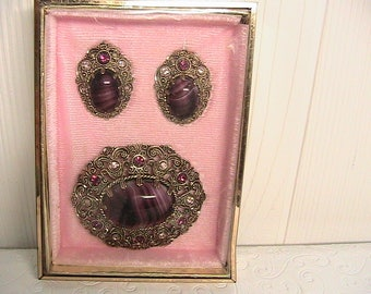 Brooch and Earrings, Gorgeous Germany Filigree Brooch and Clip Earring Set, Amethyst Colored Glass, Original Case