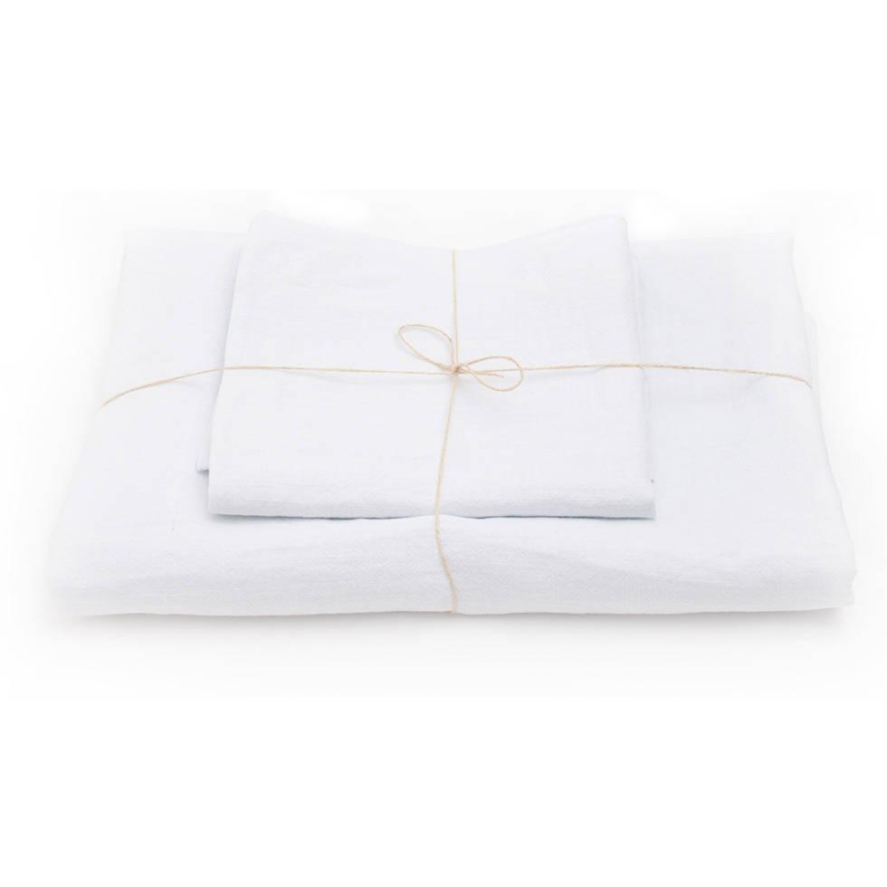 parure de lit en lin lav blanc. Black Bedroom Furniture Sets. Home Design Ideas